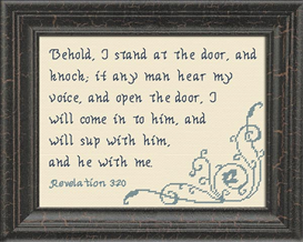 Behold I Stand at the Door - Revelation 3:20 | Crafting | Cross-Stitch | Other