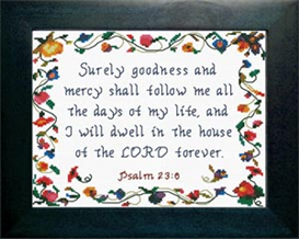 Surely Goodness and Mercy - Psalm 23:6 | Crafting | Cross-Stitch | Religious