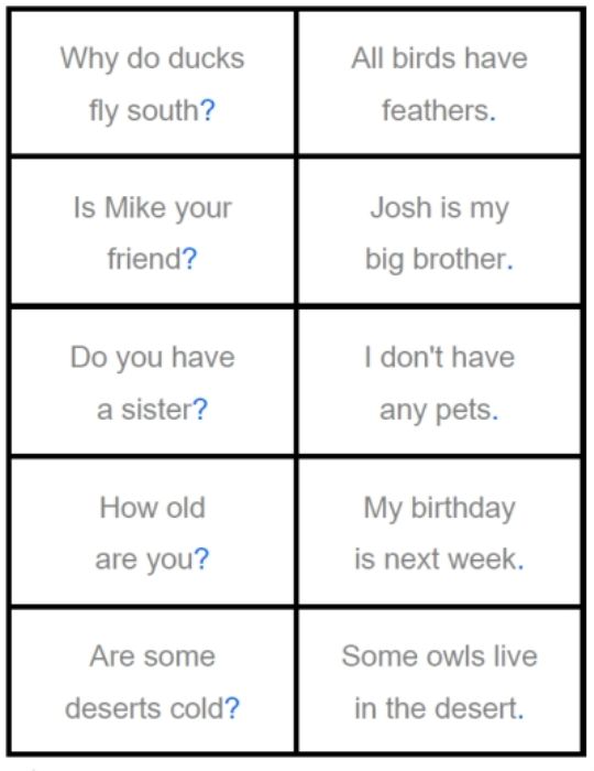 Second Additional product image for - Ask or Tell sentences game