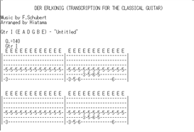 (guitar tab) der erlkonig by f.schubert transcribed for the classical