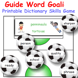 guide word goalies dictionary skills game