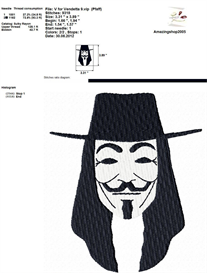 V For Vendetta Embroidery Design | Crafting | Sewing | Other
