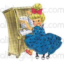 vintage clipart: little girl playing piano (jpg)