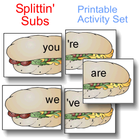 Splittin' Subs Contractions Activity Set | eBooks | Education