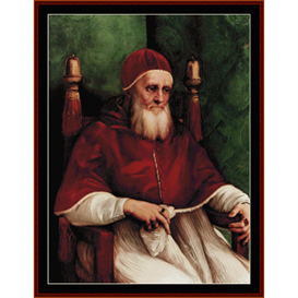 portrait of julius ii - raphael cross stitch pattern by cross stitch collectibles