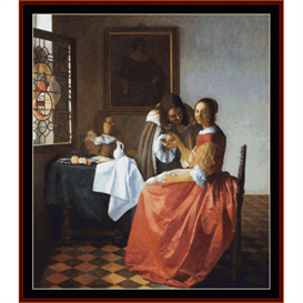 A Lady & Two Gentlemen - Vermeer cross stitch pattern by Cross Stitch Collectibles | Crafting | Cross-Stitch | Wall Hangings