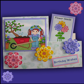 Side Stepper Card Set with Cute Girl Gardening | Crafting | Paper Crafting | Cards