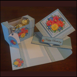 spring card, envelope and gift box set in blue