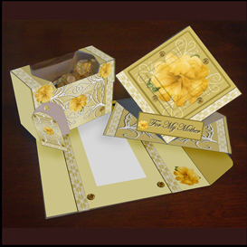 Spring Card, Envelope and Gift box Set in Gold | Crafting | Paper Crafting | Cards