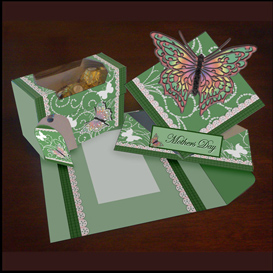 spring card, envelope and gift box set in green