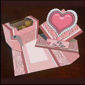 spring card, envelope and gift box set in pink