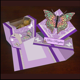 spring card, envelope and gift box set in purple