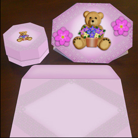 Stand up Bear Card in Pink with Envelope and Gift Box | Crafting | Paper Crafting | Cards