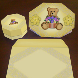 Stand up Bear Card in Yellow with Envelope and Gift Box | Crafting | Paper Crafting | Cards