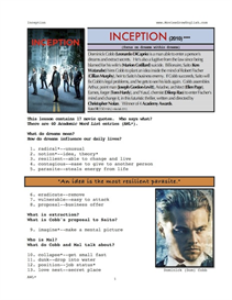INCEPTION, Whole-Movie English (ESL) Lesson | eBooks | Education