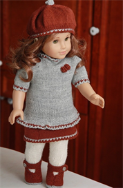 dollknittingpatterns - 0081d trude - jacket, pants, skirt, tunic, beret and socks