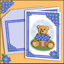 Bear card with matching insert and Envelope in Blue | Crafting | Paper Crafting | Cards
