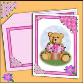 Bear card with matching insert and Envelope in Pink | Crafting | Paper Crafting | Cards