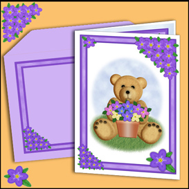 bear card with matching insert and envelope in lilac