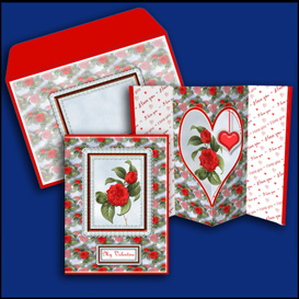 red roses lantern aperture card with envelope