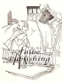 Vintage illustration of Little Red Riding Hood talking to the wolf grandma | Photos and Images | Vintage
