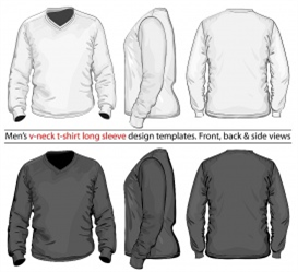 vectorlib rf (standard license): vector. men's v-neck long sleeve t-shirt design template (front, back and side view). whit...