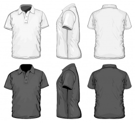 vectorlib rf (standard license): vector. men's polo-shirt design template (front, back and side view). no mesh.