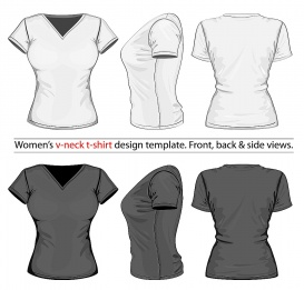vectorlib rf (standard license): vector. women's v-neck t-shirt design template (front, back and side view).