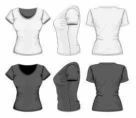 vectorlib rf (standard license): vector. women's t-shirt design template (front, back and side view). no mesh.
