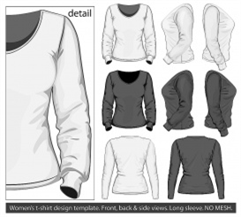 vectorlib rf (standard license): vector. women's t-shirt design template (front, back and side view). long sleeve. no mesh.