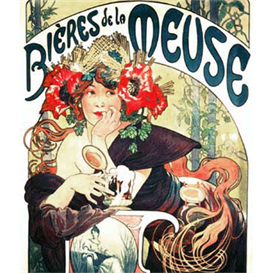 Bieres de la Meuse - Mucha cross stitch pattern by Cross Stitch Collectibles | Crafting | Cross-Stitch | Wall Hangings