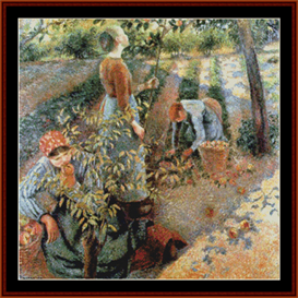 apple picking - pissarro cross stitch pattern by cross stitch collectibles
