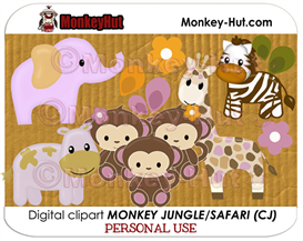 Jungle Safari animals clip art in orchid colors (Monkey CJ) PERSONAL USE | Photos and Images | Clip Art