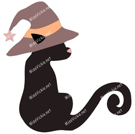 halloween cat-in-a-hat   (jpg & png digi stamp files)