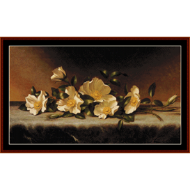 Cherokee Roses on Gray Cloth - Heade cross stitch pattern by Cross Stitch Collectibles | Crafting | Cross-Stitch | Wall Hangings