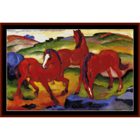 Red Horses - Franz Marc cross stitch pattern by Cross Stitch Collectibles | Crafting | Cross-Stitch | Wall Hangings