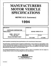 1994 Dodge Viper MVMA | eBooks | Automotive
