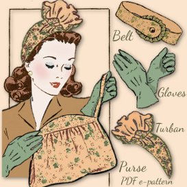 Ruffled TURBAN 1940's vintage pattern GLOVES~ BELT ~ BAG too! | Crafting | Sewing | Other