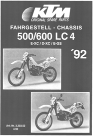 ktm 500-600lc4 chassis 1992 spareparts catalogue