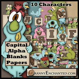 granny enchanteds monster alphabet, blanks, & papers