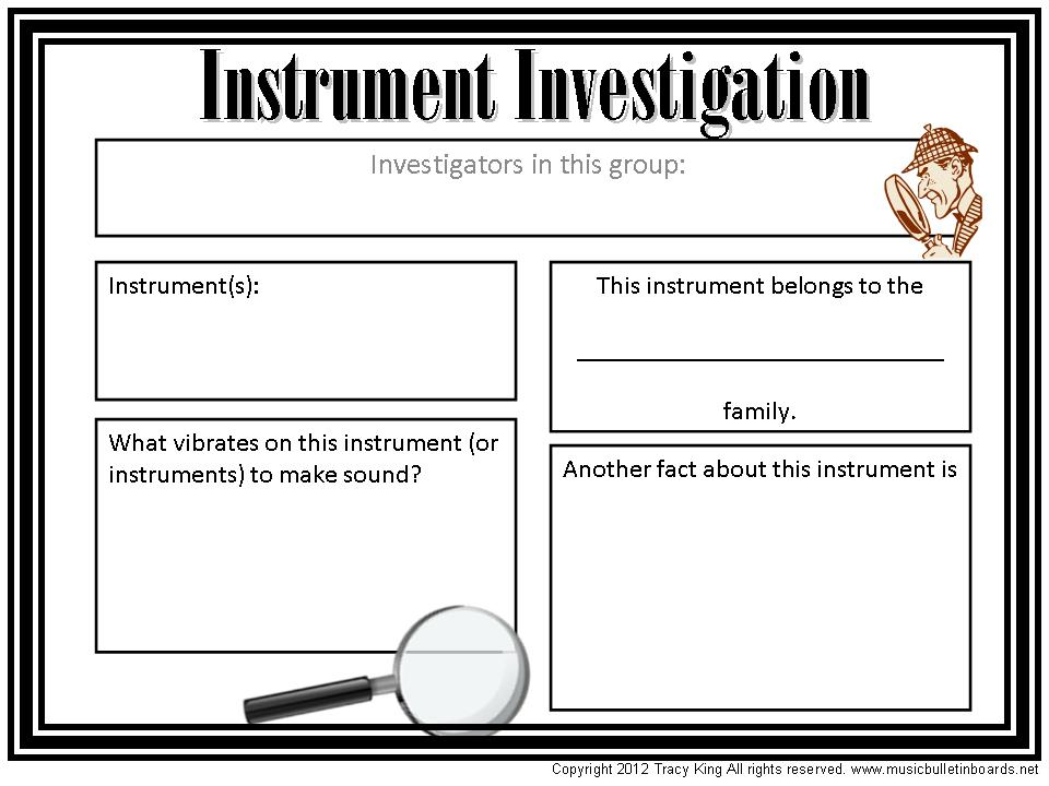Instrument Investigation Worksheet Other Files – Instruments of the Orchestra Worksheets