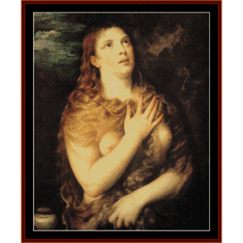Mary Magdalen Repentant - Titian cross stitch pattern by Cross Stitch Collectibles | Crafting | Cross-Stitch | Wall Hangings