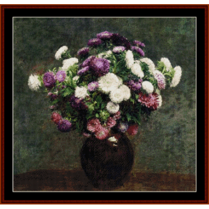 Asters in a Vase - Fantin LaTour cross stitch pattern by Cross Stitch Collectibles | Crafting | Cross-Stitch | Wall Hangings