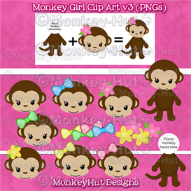 monkey girl clip art set v3 pink yellow green blue heads & body (personal use)
