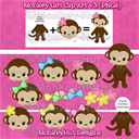 Monkey Girl Clip Art set v3 pink yellow green blue heads & body (PERSONAL USE) | Other Files | Clip Art