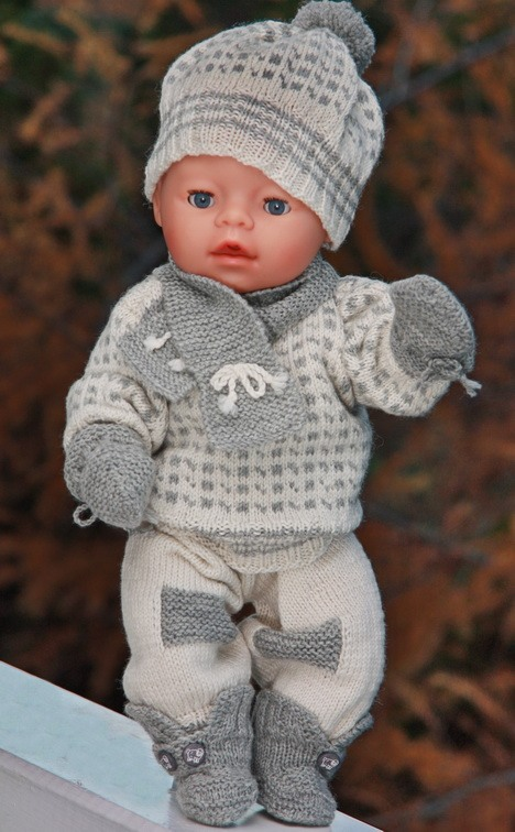 Knitting Pattern For Doll Booties : DollKnittingPatterns - 0083D OSCAR - Sweater, Pants, Shoes, Cap, Mittens, Sca...