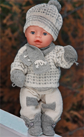dollknittingpatterns - 0083d oscar - sweater, pants, shoes, cap, mittens, scarf