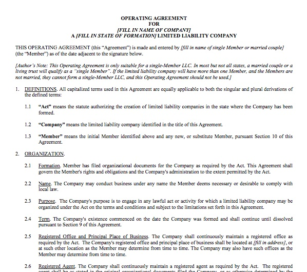 Single Member Llc Operating Agreement Template