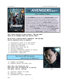 THE AVENGERS, Whole-Movie English (ESL) Lesson | eBooks | Education