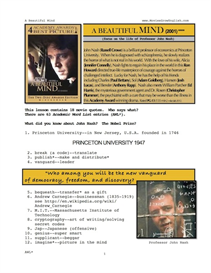 A BEAUTIFUL MIND, Whole-Movie English (ESL) Lesson | eBooks | Education